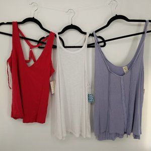 Free People Bundle of 3 Tank Tops NEW Sz Medium